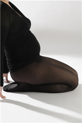 Dressy black maternity tights
